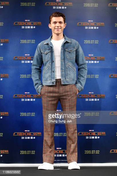 Actor Tom Holland attends the press conference for 'SpiderMan Far From Home' South Korea Premiere on July 01 2019 in Seoul South Korea