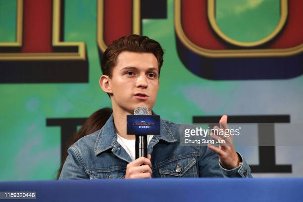 Actor Tom Holland attends the press conference for 'Spider-Man: Far From Home' South Korea Premiere on July 01, 2019 in Seoul, South Korea.
