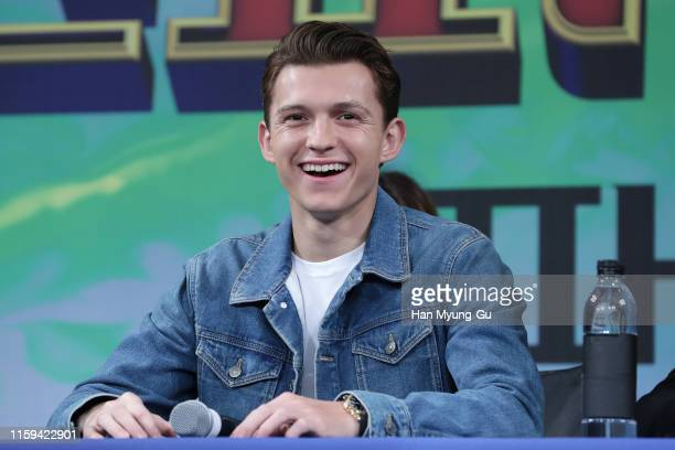 Actor Tom Holland attends the press conference for 'SpiderMan Far From Home' Seoul premiere on July 01 2019 in Seoul South Korea