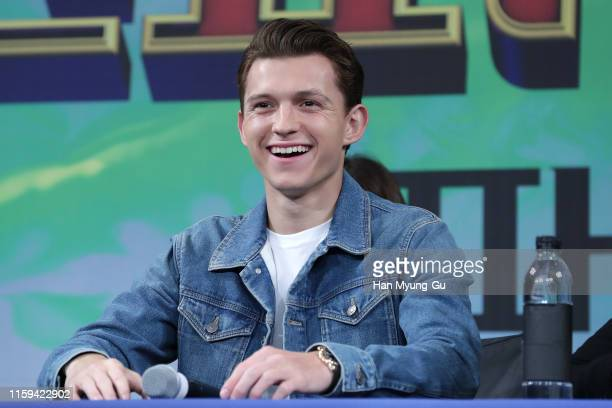 Actor Tom Holland attends the press conference for 'Spider-Man: Far From Home' Seoul premiere on July 01, 2019 in Seoul, South Korea.