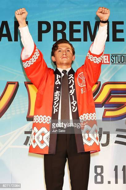Actor Tom Holland attends the 'SpiderMan Homecoming' Japan Premier at Kabukicho Cinecity Park on August 7 2017 in Tokyo Japan