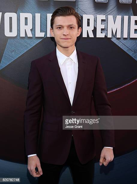 Actor Tom Holland attends The World Premiere of Marvel's Captain America Civil War at Dolby Theatre on April 12 2016 in Los Angeles California