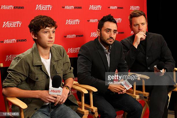 Actor Tom Holland director Juan Antonio Bayona and Ewan McGregor at Variety Studio presented by Moroccanoil on Day 1 at Holt Renfrew Toronto during...