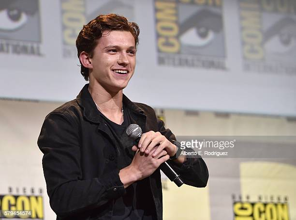 "Actor Tom Holland from Marvel Studios' SpiderMan Homecoming"" attends the San Diego ComicCon International 2016 Marvel Panel in Hall H on July 23 2016..."