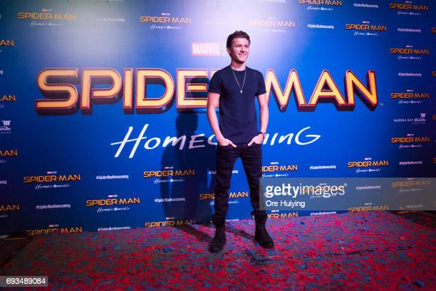 Actor Tom Holland poses during the 'SpiderMan Homecoming' event at Marina Bay Sands on June 6 2017 in Singapore