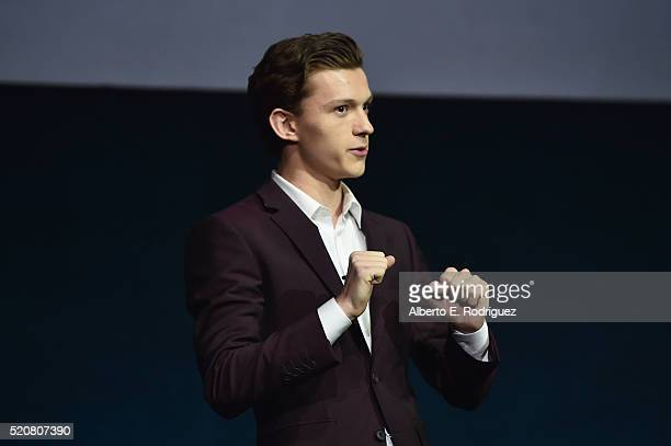 Actor Tom Holland speaks onstage during CinemaCon 2016 An Evening with Sony Pictures Entertainment Celebrating the Summer of 2016 and Beyond at The...