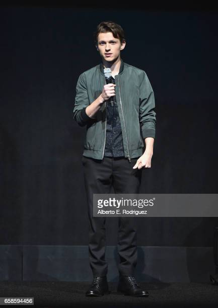 Actor Tom Holland speaks onstage during the CinemaCon 2017 Gala Opening Night Event Sony Pictures Highlights its 2017 Summer and Beyond Films for...