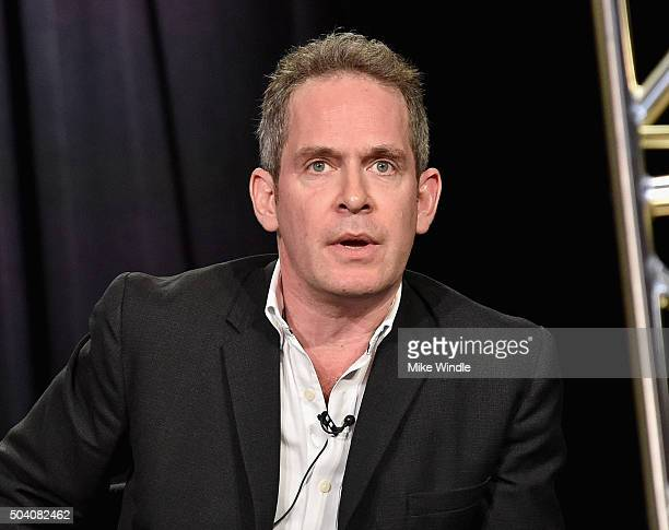 Actor Tom Hollander speaks onstage during the AMC Winter TCA Press Tour 2016 'The Night Manager' panel at The Langham Huntington Hotel and Spa on...