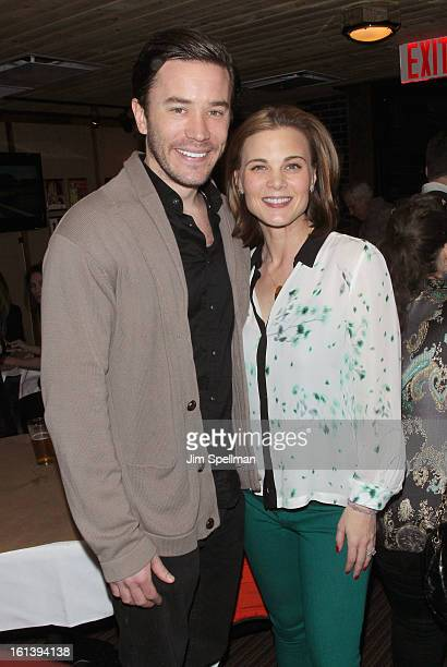 Actor Tom Pelphrey and Gina Tognoni attends the Spontaneous Construction premiere at Guys American Kitchen Bar on February 10 2013 in New York City