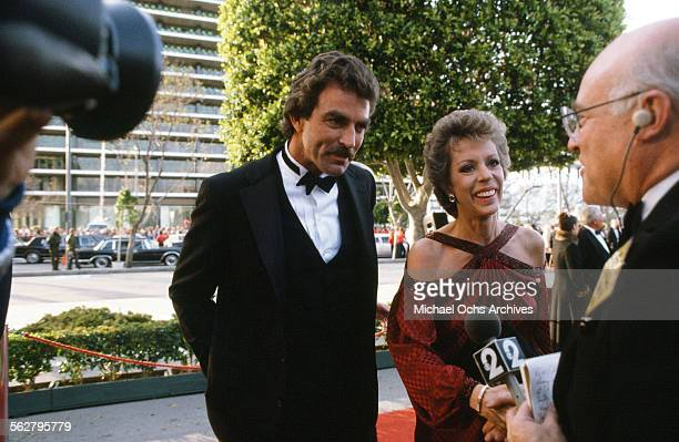 Actor Tom Selleck and actress Carol Burnett arrive to the 55th Academy Awards at Dorothy Chandler Pavilion in Los AngelesCalifornia