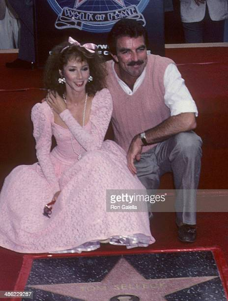 Actor Tom Selleck and girlfriend Jillie Mack attend Tom Selleck receives a Hollywood Walk of Fame Star on June 4, 1986 at 6925 Hollywood Boulevard in...