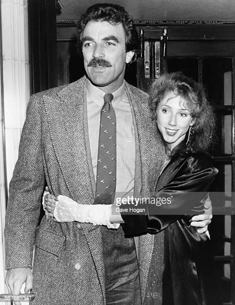 Actor Tom Selleck and his girlfriend Jilly Mack leaving Langan's restaurant in London April 29th 1985