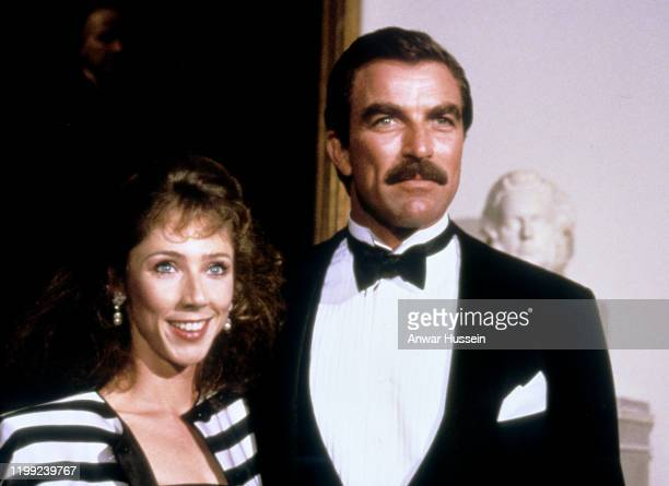 Actor Tom Selleck and his partner Jillie Mack arrive at the White House arrive for a gala dinner with the Prince and Princess of Wale on November 09,...