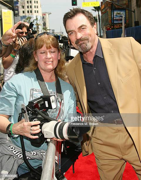 Actor Tom Selleck and photographer Jill Johnson attend the film premiere of 'Meet The Robinsons' at the El Capitan Theater on March 25 2007 in...