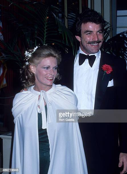 Actor Tom Selleck and wife Jacqueline Ray attend the 35th Annual Golden Globe Awards on January 28 1978 at the Beverly Hilton Hotel in Beverly Hills...