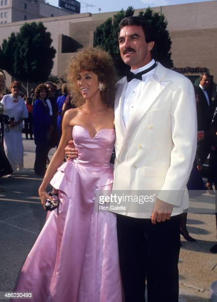Actor Tom Selleck and wife Jillie Mack attend the 39th Annual Primetime Emmy Awards on September 20 1987 at the Pasadena Civic Auditorium in Pasadena...