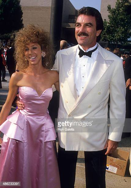 Actor Tom Selleck and wife Jillie Mack attend the 39th Annual Primetime Emmy Awards on September 20, 1987 at the Pasadena Civic Auditorium in...