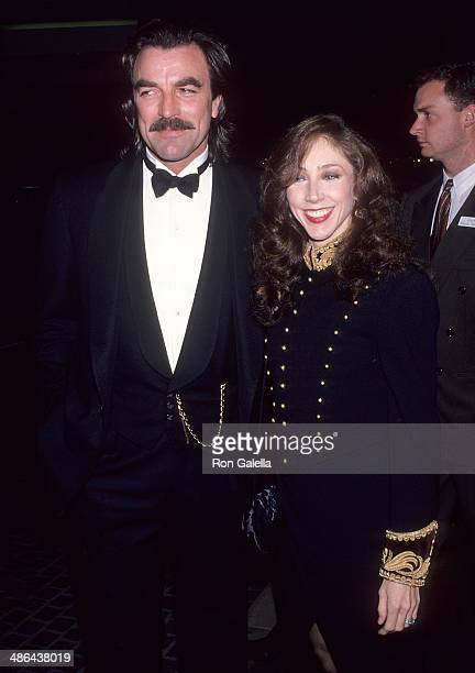 Actor Tom Selleck and wife Jillie Mack attend the 50th Annual Golden Globe Awards on January 23 1993 at the Beverly Hilton Hotel in Beverly Hills...