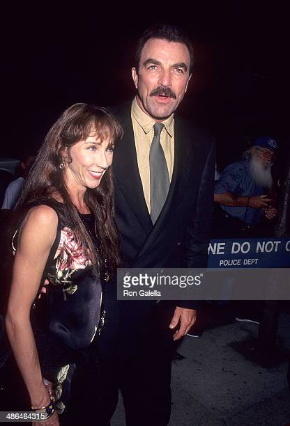Actor Tom Selleck and wife Jillie Mack attend the Screening of the TNT MadeForTelevision Movie Broken Trust on August 2 1995 at the Guild Theatre in...