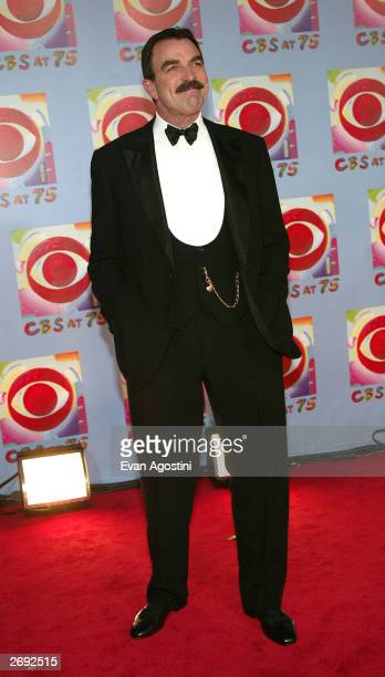 Actor Tom Selleck arrives at the CBS At 75 celebration at the Hammerstein Ballroom November 2 2003 in New York City This special event commemorates...