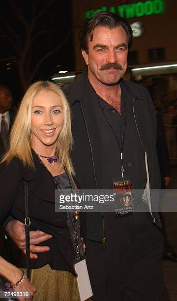 Actor Tom Selleck arrives with his wife actress Jillie Mack at the premiere of the movie We Were Soldiers February 25 2002 in Los Angeles CA
