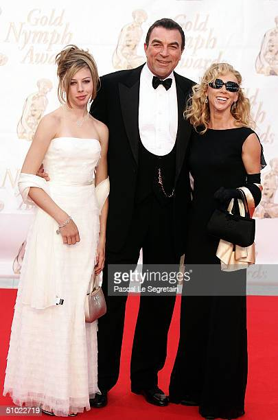 S Actor Tom Selleck poses with his wife and his daughter as he arrives to attend the Gold Nymph awards ceremony at the 44th MonteCarlo Television...