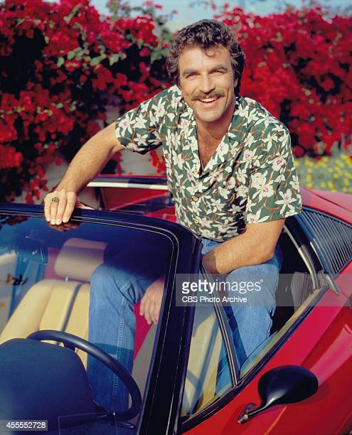 Actor Tom Selleck stars as Thomas Sullivan Magnum on the CBS television series Magnum PI He is in a red Ferrari 308 and wearing a Hawaiian floral...