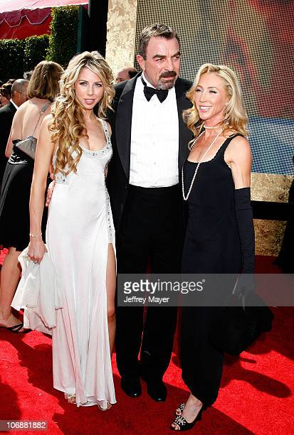 Actor Tom Selleck wife Jillie and daughter Hannah arrive at the 59th Annual Primetime Emmy Awards at the Shrine Auditorium on September 16 2007 in...