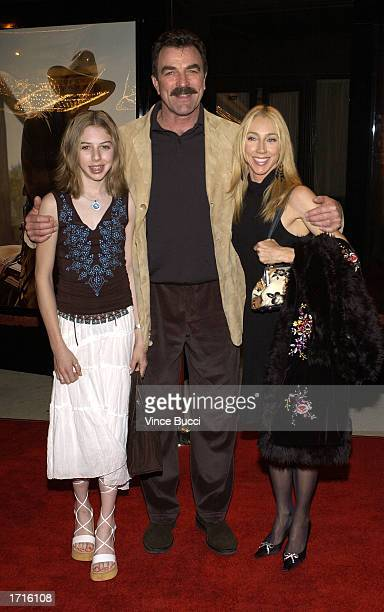 Actor Tom Selleck wife Jillie and daughter Hannah attend the premiere of the TNT television movie Monte Walsh on January 8 2003 at the Warner Bros...