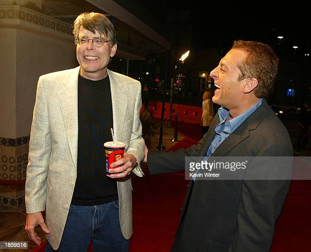 Actor Tom Sizemore and author Stephen King talk at the premiere of Dreamcatcher at the Mann Village Theater and afterparty at Napa Resturant on March...