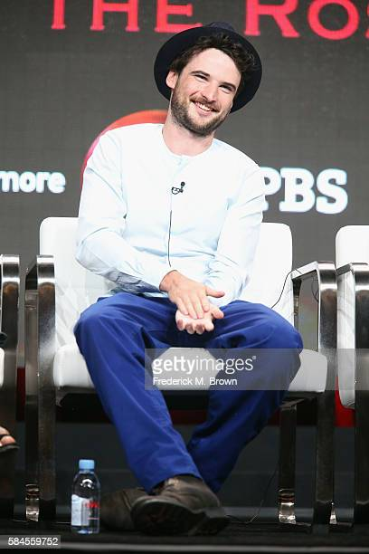 Actor Tom Sturridge speaks onstage during the 'Great Performances 'The Hollow Crown The Wars of the Roses'' panel discussion at the PBS portion of...