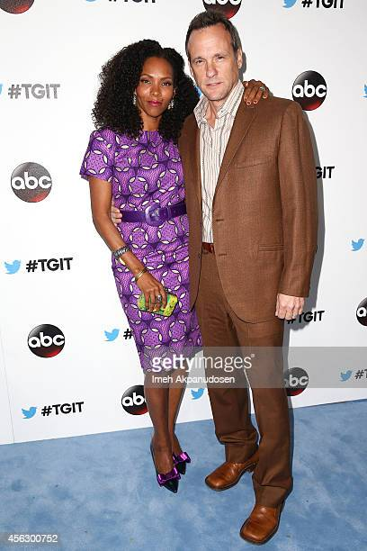 Actor Tom Verica and wife actress Kira Arne attend the TGIT Premiere event at Palihouse on September 20 2014 in West Hollywood California