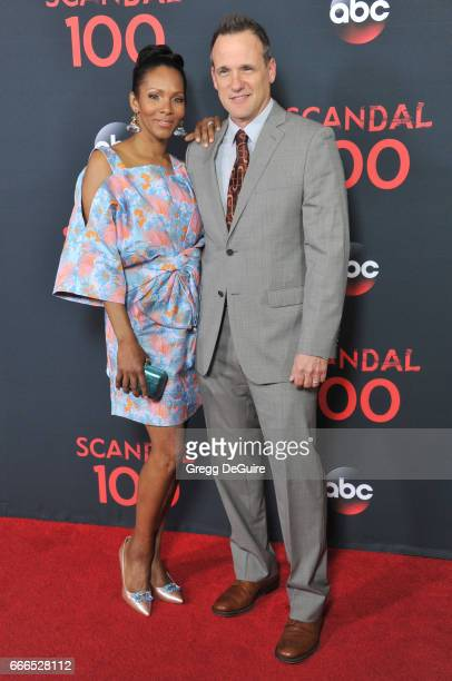 Actor Tom Verica and wife Kira Arne arrive at ABC's Scandal 100th Episode Celebration at Fig Olive on April 8 2017 in West Hollywood California