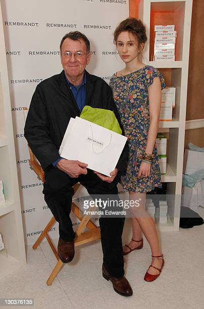 Actor Tom Wilkinson and daughter Alice Wilkinson attend The Belvedere Luxury Lounge in honor of the 80th Academy Awards featuring Rembrandt held at...
