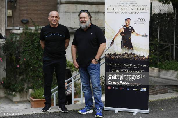 Actor Tomas Arana and actor Russel Crowe attend the 'Il Gladiatore In Concerto' presentation at Teatro Euclide on June 5 2018 in Rome Italy