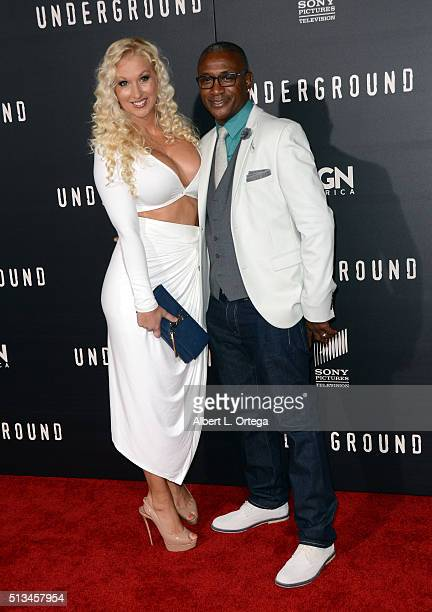 Actor Tommy Davidson and wife Arleen Davidson arrive for the Premiere Of WGN America's Underground held at The Theatre At The Ace Hotel on March 2...