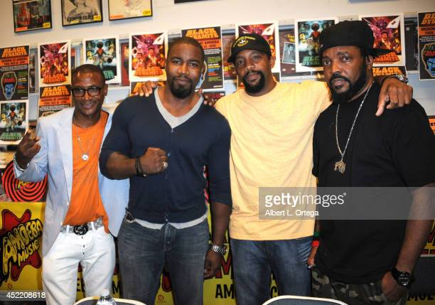 Actor Tommy Davidson producer Byron Minns producer Carl Jones and producer Michael Jai White attends the DVD Signing With Black Dynamite Cast At...