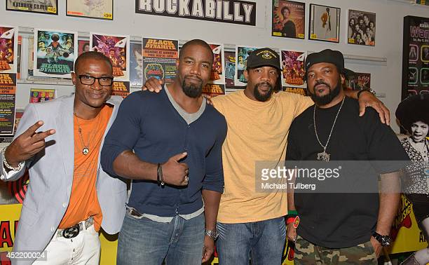 Actor Tommy Davidson producers Michael Jai White and Byron Minns and director Carl Jones attend a signing for the new DVD Black Dynamite at Amoeba...