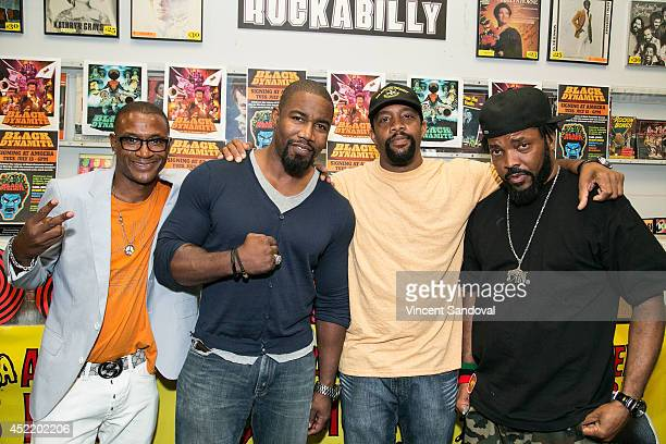 Actor Tommy Davidson producers Michael Jai White and Byron Minns and director Carl Jones attend the Black Dynamite DVD signing at Amoeba Music on...