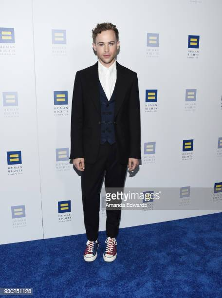 Actor Tommy Dorfman arrives at the Human Rights Campaign's 2018 Los Angeles Gala Dinner at the JW Marriott Los Angeles at LA LIVE on March 10 2018 in...