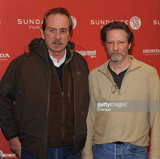 Actor Tommy Lee Jones and Chris Cooper attend The Company Men Premiere during the 2010 Sundance Film Festival at Eccles Center Theatre on January 22...