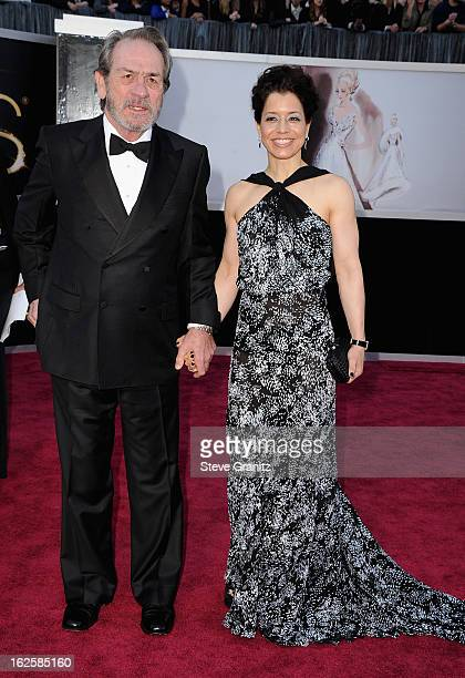 Actor Tommy Lee Jones and Dawn LaurelJones arrive at the Oscars at Hollywood Highland Center on February 24 2013 in Hollywood California