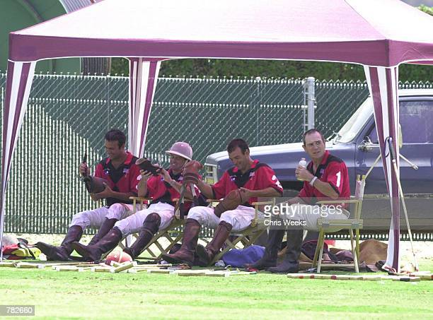 Actor Tommy Lee Jones and his San Saba polo team are all smiles after winning their game at the Santa Barbara Polo Racquet Club July 30 2000 in Santa...