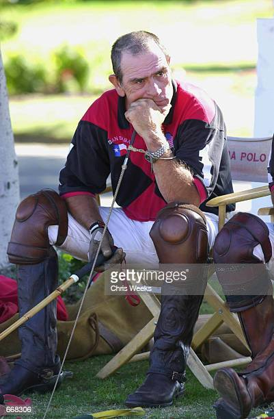 Actor Tommy Lee Jones contemplates a two goal deficit between chukkers July 16 2000 as his polo team San Saba competes for the Robert Skene Trophy at...