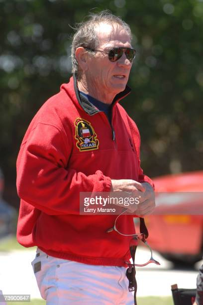 Actor Tommy Lee Jones pauses during a competition with his Polo Team San Saba in the Stanford US Open at International Polo Club Palm Beach April 16...