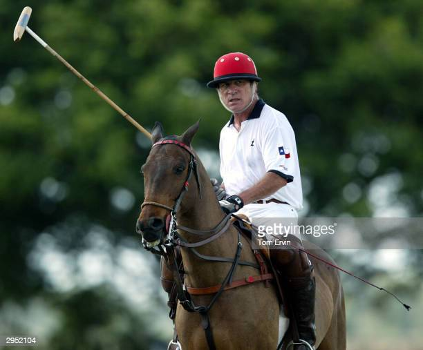 Actor Tommy Lee Jones plays polo at the International Polo Club Palm Beach on February 6 2004 in Wellington Florida