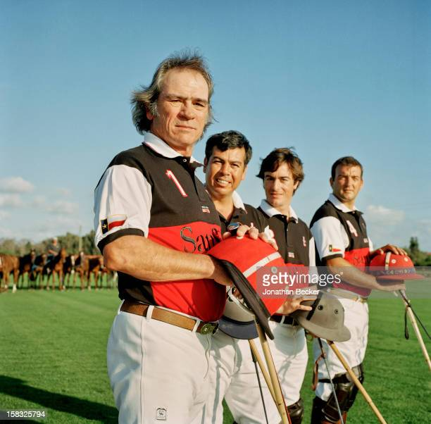 Actor Tommy Lee Jones polo players Luis Echezarreta Hector Galindo and Agustin Merlos are photographed for Vanity Fair Magazine on February 21 2003...