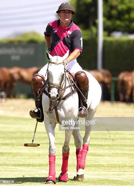 Actor Tommy Lee Jones sits astride his horse July 16 2000 as his polo team San Saba competes for the Robert Skene Trophy at the Santa Barbara Polo...