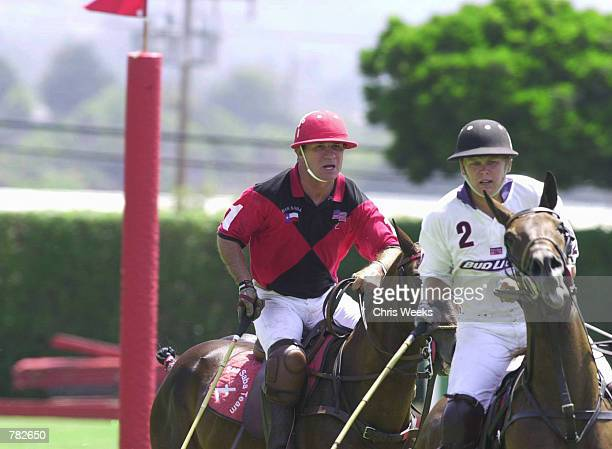 Actor Tommy Lee Jones sits astride his mount as he competes with his San Saba polo team at the Santa Barbara Polo Racquet Club July 30 2000 in Santa...