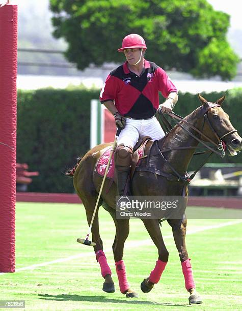 Actor Tommy Lee Jones sits astride his mount as he competes with his San Saba polo team July 30 2000 at the Santa Barbara Polo Racquet Club in Santa...